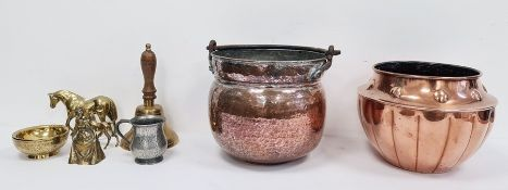 Arts & Crafts copperware jardiniere,a swing-handled cauldron, various brass horses, a pewter