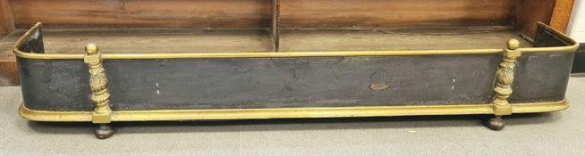 Brass fire curb, 133cm long x 25cm deep approx