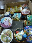 Quantity of vintage biscuit and sweet tins to include Damoiseau 1930's Snow White tin, a Black and