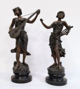 Pair of spelter figures of ladies playing musical instruments, stamped 'TR Richard'  Condition