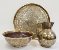 Eastern brass tray-top table ( without stand) and a 19th century Eastern brass jug and basin