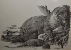 Paul Matthews Limited edition print Portrait of an otter, 21/500 Anthony Wyatt Limited edition