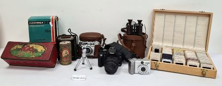 Collection of old cameras, binoculars, photographic equipment, etc (2 boxes)