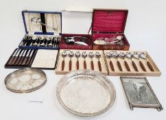 Various plated flatware, a wooden corkscrew, traysand other plated items(2 boxes)