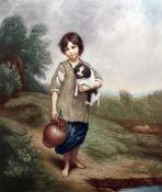 """After Gainsborough by Arthur B Brook Mezzotint """"A Young Cottager"""", 47cm x 34cm"""