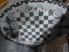 Large quantity of framed printsand a mosaic table-top