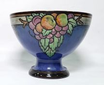 Royal Doulton footed bowl, designed probably by John Huskinson, blue ground, decorated with