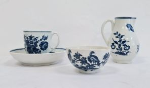 Group of Worcester porcelain, circa 1775, blue crescent marks, printed in underglaze blue with the