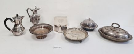 Quantity of plated ware including knives, jugs, tankards, etc (2 boxes)