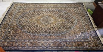 Tabriz-type rug, large stepped central foliate medallion, on fawn foliate covered field, stepped