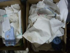 Large quantity of damask table linen and other linens(2 boxes)