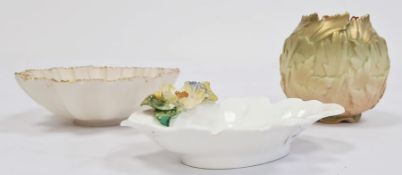 Royal Worcester dishwith floral decoration, numbered 3297 to base, 12cm, a Royal Worcester 'Blush