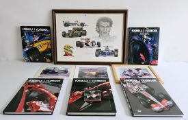 Collection of Formula 1 yearbooks 2002-2009, various signed racing prints and a Stuart McIntyre