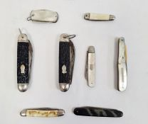 Silver penknife with mother-of-pearl handle and seven other penknives (8)