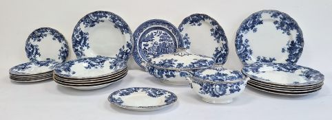 Bisto pottery blue and white transfer-printed part dinner service and similar pieces  Condition