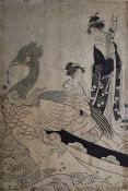 Japanese print Figure standing with figure kneeling behind Phoenix(?), signed middle left, 36cm x