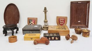 Wooden boxes, Oriental porcelain wooden stands, various shields, a porcupine coil box, an Anglo-