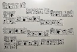 Print cartoonof Snoopy by Schulz, 31cm x 44.5cm and a pair of illustrations by Dickinson (3)