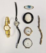 9ct gold watch,a part 9ct gold adjustable bracelet strap, white metal watches, a yellow metal