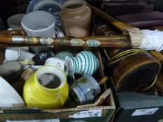 Various ceramics, collectables, two walking sticks, a wooden table lamp, Gibbons Stamp Monthly 1964,