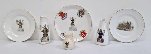 Group of ceramicsrelating to Winchester College, comprising three jugs printed with 'The Trusty