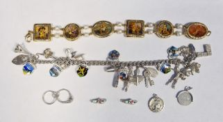 Silver charm bracelet, a silver St Christopher pendantand a yellow-coloured metal costume