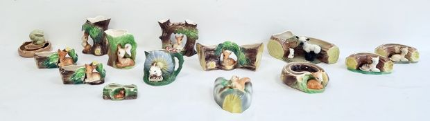 Collection of Hornseaware pottery to include jugs, vases and posies, all with model animals, to incl