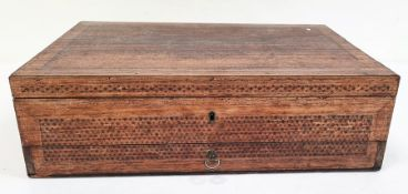 A 19th Century Anglo-Indian rectangular sewing box with inlay to inside, various cabinets, inlaid