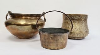 Large brass two-handled jardiniere and a preserve pan, etc
