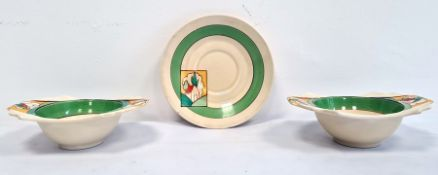 Hand-painted 'Bizarre' pattern pair of bowls and a saucer by Clarice Cliff, Stroud pattern, (3)