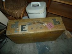 Cream vintage leather suitcase, labelled 'Peninsular and Oriental Steam Navigation Comp Baggage' and