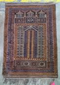 Persian rug, the brown ground with rich blue, cream and light brown decoration, approx 126cm x 88cm