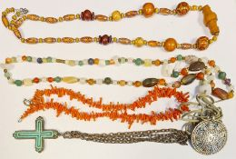 Collection of costume jewelleryto include amber-coloured beads, coral necklace, white metal,