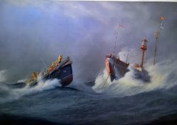 """Set of six RNLI colour prints""""Gold Medal Rescues"""", signed in pencil to margin lower right, 48cm x"""
