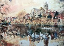 """After David Birtwistle Various prints to include """"Slow Swans on River"""", 20cm x 29cm and others P"""
