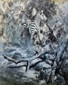 After David Shepherd Colour print Zebra amongst trees, signed in pencil to margin After Norman