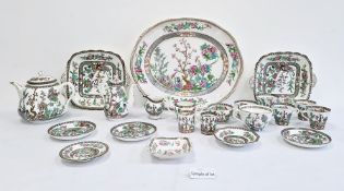 Large Hammersley & Co porcelain part tea and dinner service 'Indian Tree' pattern   Condition