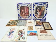 Collection of carved inlaid wooden boxes, stamps, various puzzles, journals, etc (1 box)
