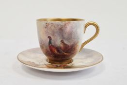 Royal Worcester demi-tasse and saucer, printed puce marks, printed date code for 1929, the cup