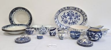 Quantity of blue Denmark and other blue transfer-printed pottery and porcelain