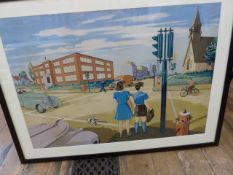 Set of two vintage chromolithograph posters printed in Quebec Canada. depicting idealised life in
