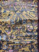 Chinese/Tibetan painted silk thangka centred by seated Buddha with surround of numerous