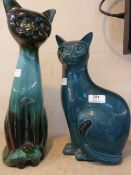 A Poole pottery cat, 35cm high and another pottery cat (29cm) (2)Condition ReportNo noticeable