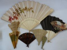 A bone and silk painted fan, the silk painted with autumn leaves and butterfly, another bone and