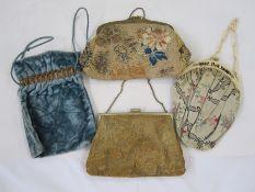 Embroidered vintage evening bagwith gilt metal frame, a velvet evening bag, a 1920's floral satin