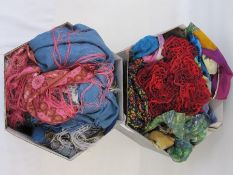 Large quantity of various silk and wool scarves, pashminas, etc (2 hat boxes) Condition ReportNone