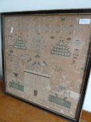 Late 19th century sampler, named Grove House, 44 x 42.5 cms, framed