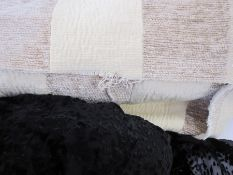 Length of chenilleand linen furnishing materialand a large roll of black devore dress material(