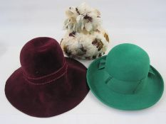 1960's Cresta feathered hat, a 1960's 'Model Hats', 42 South Moulton Street' hat in maroon felt with