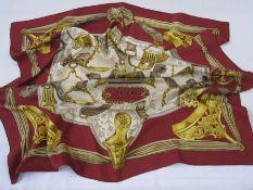 Hermes scarf 'Etriers' 1964, hand rolled, by Francoise De La Perriere, 90cm x 90cm Condition